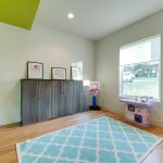 Hula Hoop Rug with Contemporary Kids and  Lime Green  Sheer Roman Shade  Recessed Lights  Chartreuse  Accent Wall