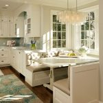 Hula Hoop Rug with Traditional Kitchen and  Tufted Bench     Cup Pulls  Built in Banquette