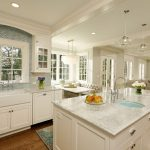 Hula Hoop Rug with Traditional Kitchen and  White Beams  Farm Sink  Banquette  Cream Wall  Eat in Kitchen