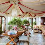 Hula Hoop Rug with Traditional Sunroom and  Floral Arrangements  Table  Hand Painted Floor Cloth  Sunroom  Tent Ceiling