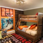 Hula Hoop Rug with Transitional Kids and  Sports Theme  Crown Molding  Boys Bedroom  Bookcase  Brown Stripes