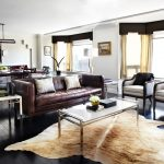 Ikea Cowhide Rug with Contemporary Living Room and  Apartment  Rug  Condo  Dark Wood Floor  Animal Skin
