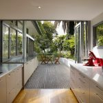 Indoor Outdoor Area Rugs with Contemporary Kitchen and  Wooden Deck     Open Floor Plan  Light  Timber  Recessed Lighting