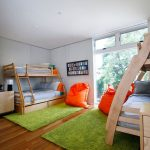 Jelly Bean Rugs with Contemporary Kids and  Lime Green Area Rug  Sleek White Walls  Recessed Lights  Orange Bean Bag  Medium Hardwood Floor