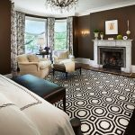 Jelly Bean Rugs with Traditional Bedroom and  Fireplace Mantel  Sitting Area     Recessed Lighting  Fireplace  Leather Bench