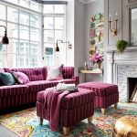 Jelly Bean Rugs with Traditional Living Room and  Bay Window  Wall Sconces     Sofa  Ottoman  Pouf
