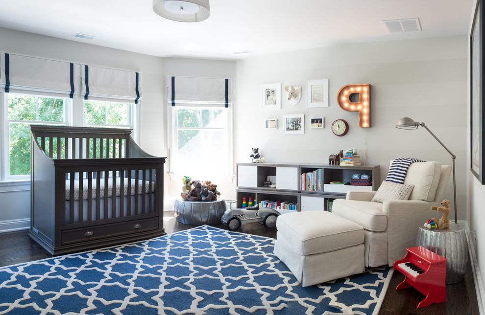 Kids Room Rugs with Transitional Nursery and Dark Wood Crib Striped ...