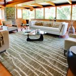 Land of Nod Rugs with Midcentury Living Room and  Sofa  Usonian  Stone Chimney  Noguchi Coffee Table  Wood Panel