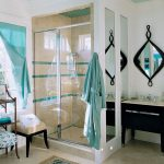 Latch Hook Rug Kits with Traditional Bathroom and  White Wall     Light Blue Curtain  Blue Ceiling  Traditional Rug  Unique Bathroom Mirror