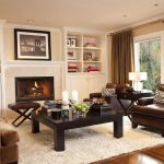 Leather Shag Rug with Traditional Family Room and  Bookshelves  Storage  Crown Molding  Shag Rug  Window Treatments