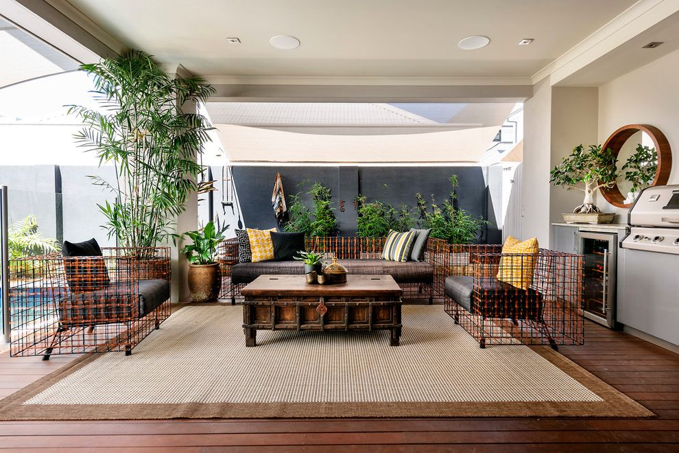 Lowes Outdoor Rugs With Contemporary Deck And Glass Railing Wood