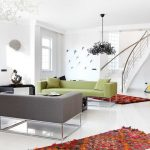 Machine Washable Rugs with Contemporary Living Room and  Curved Staircase  Metal Banister  White Flooring  Boucherouite Rugs  Gray Sofa