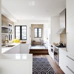 Machine Washable Rugs with Transitional Kitchen and  Black Window Trim  Recessed Lighting  Open Shelves  Soffit     Full Height Cabinets