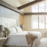 Memory Foam Bath Rugs with Contemporary Bedroom and  Dark Wood Ceiling Beams  Fixed Windows  Upholstered Headboard  Muted Colors  Clerestory Windows