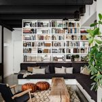 Memory Foam Bath Rugs with Industrial Living Room and  Timber  Plant  White Bookcase  Black Sofa  Chair