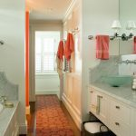 Memory Foam Bath Rugs with Modern Bathroom and  Coral  Shutters  Coral Accessories  Marble Back Splash  Marble Tub Deck