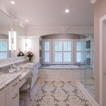 Memory Foam Bath Rugs with Traditional Bathroom and  Spa  Wood Bathtub Surround     Vanity  Hers and His  Custom Mirrors