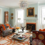Memory Foam Rug with Victorian Living Room and  Fireplace  Light Blue Wall  Antiques  Custom  Windows