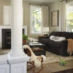 Mohawk Area Rugs with Traditional Living Room and  Rocking Chair  Room Dividers  Coffee Table  Dark Floor  Wood Columns