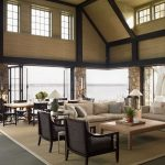 Natural Area Rugs with Beach Style Living Room and  Table Lamp  Gray Floor  Lake View  Two Story Ceiling  Oversize Natural Area Rug