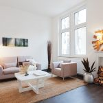 Natural Area Rugs with Contemporary Living Room and  Wood Art     Fake Fireplace  White Table  Natural Area Rug  Sisal Teppich