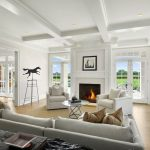 Natural Area Rugs with Transitional Living Room and  Beige Couch  Horse Weathervane  Double Doors  Bright and Airy  Coffered Ceiling