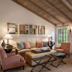 Natural Area Rugs with Transitional Living Room and  Beige Sofa  Upholstered Ottoman  Exposed Wood Beams  Wood Ceiling     White Trim