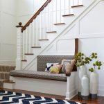 Navy and White Rug with Beach Style Entry and  Patterns  Stair Runner  Wood Banister  		Bench  Blue and White