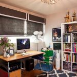 Navy and White Rug with Eclectic Home Office and  Saarinen  Eames  White Bookcase     Wallpaper  Tobias Wong
