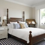 Navy and White Rug with Traditional Bedroom and  Drafting Table  		Area Rug  Night Stand  Dark Wood Bed  Bedding
