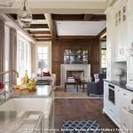 Navy and White Rug with Traditional Kitchen and  Glass Pendant Light  Gray Countertop  Coffered Ceiling  Living Room  Wood Ceiling