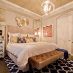 Navy Blue Rug with Contemporary Bedroom and  Seating Area  Chevron Rug  Tv  Area Rub  Curtain Panels