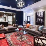 Navy Blue Rug with Contemporary Living Room and  Modern  Contemporary Daybed  White Trim  Williamsburg Bridge  Red Leather Ottoman