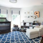 Navy Blue Rug with Contemporary Nursery and  Navy Blue Banding  Nursery Glider  Marquee Lighting  Baby Toys  Ideas for Baby Boy Nursery