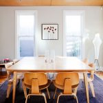 Navy Blue Rug with Midcentury Dining Room and  Navy Blue Rug  Bungalow  Contemporary Furniture  Timber Ceiling  Wood Ceiling