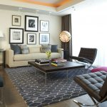 Navy Blue Rug with Modern Living Room and  Decorative Pillows  Tray Ceiling  Drapes  Ceiling Lighting  Neutral Colors