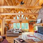 Old Rugged Cross Chords with Rustic Living Room and  Cathedral Ceiling  Knotty Pine Beams  Log Home  Rectangular Coffee Table  Fireplace
