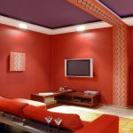 Orange Shag Rug with Contemporary Home Theater and  Living Room  Contemporary Style  Red Sofa  Red Walls  Recessed Lighting