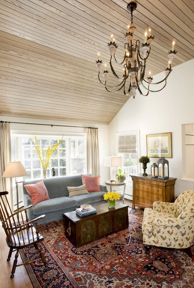 Oriental Rug Cleaning with Eclectic Living Room and Chest of Drawers