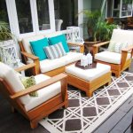 Outdoor Patio Rugs with Contemporary Deck and  Outdoor Rug  Decorative Pillows  Serving Tray  White Wood  Potted Plants