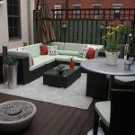 Outdoor Rugs Walmart with Transitional Deck and  Container Plants  Outdoor Lounge  Decorative Pillows  Area Rug  Roof Terrace