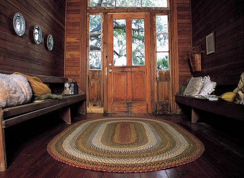 Oval Braided Rugs With Farmhouse Entry And Cotton Front Doors