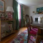 Pink Area Rug with Eclectic Dining Room and  Bright Pink Area Rug  Colorful  Bright Pink  Pink Drapes  Open Concept