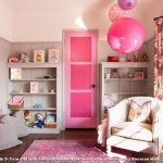 Pink Area Rug with Eclectic Kids and  Built in Cabinets  Paper Lanterns  Girl's Bedroom  Pink Area Rug  White Armchair