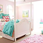 Pink Area Rug with Traditional Kids and  Beige Carpet  Four Poster Bed  Pink Area Rug  Turquoise Bedding     Chandelier