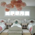 Pom Pom Rug with Eclectic Kids and  Funky  Girls Room  Single Beds     Contemporary