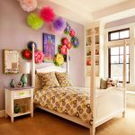 Pom Pom Rug with Transitional Kids and  Bright Colors  Light Purple Walls  Girly  Bedroom Lighting  White Headboard