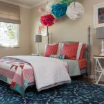 Pom Pom Rug with Transitional Kids and  White Side Table     Polka Dot Lampshade  Red Pillows  Blue Area Rug  White Bedding