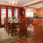 Pottery Barn Area Rugs with Craftsman Dining Room and  Chandelier  Stainless Steel Appliances  Area Rug  Red  Green Leather