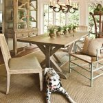 Pottery Barn Area Rugs with Traditional Dining Room and  Potted Plants  Light Dining Wood Chairs  Area Rug  Mismatched Dining Chairs  Glass China Cabinet